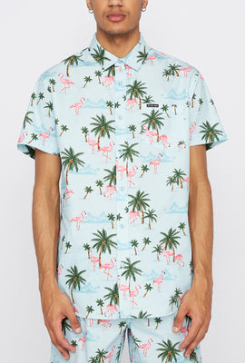 Zoo York Mens Pink Flamingo Print Button-Up Shirt