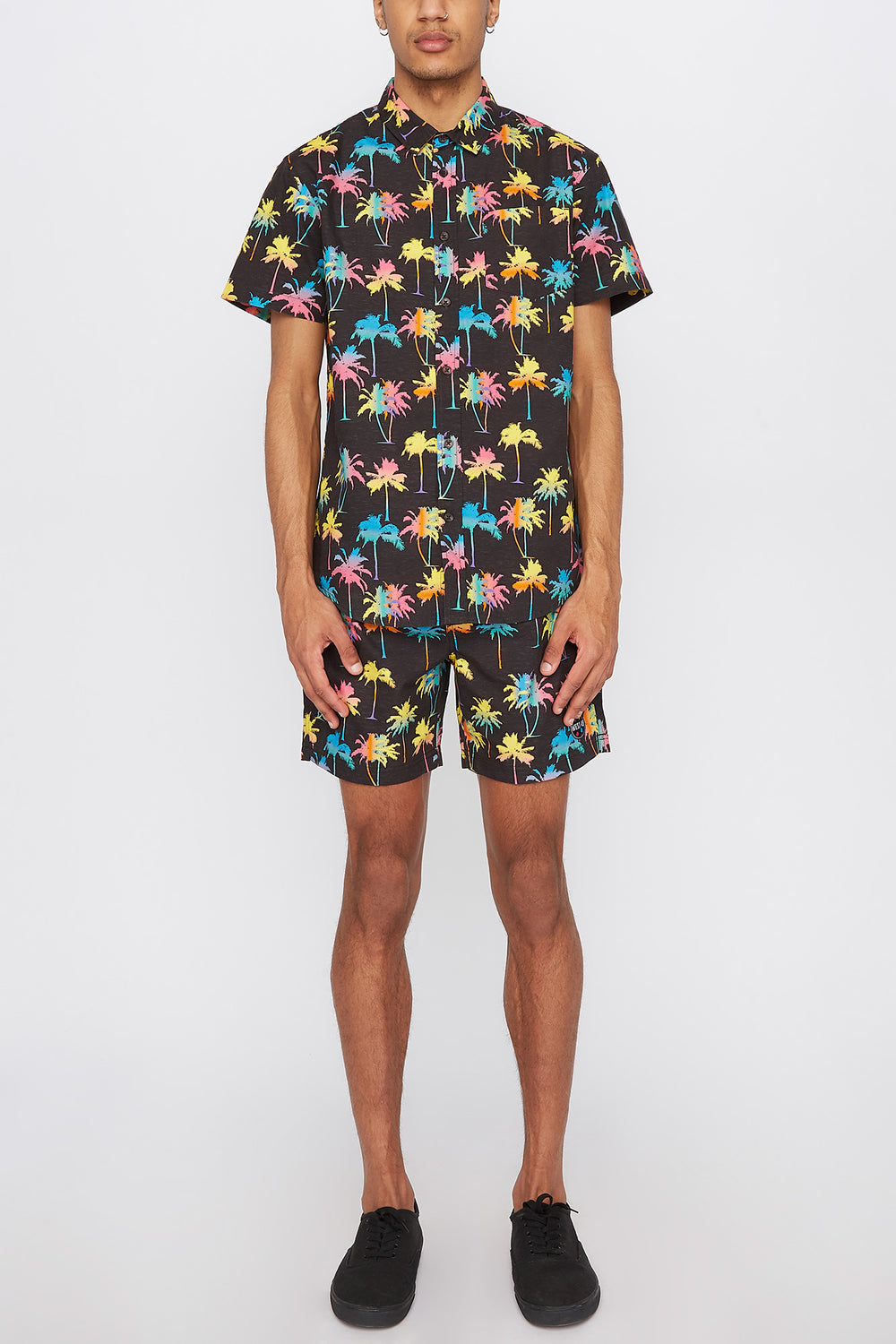 West49 Mens Neon Palm Tree Button-Up Shirt Black
