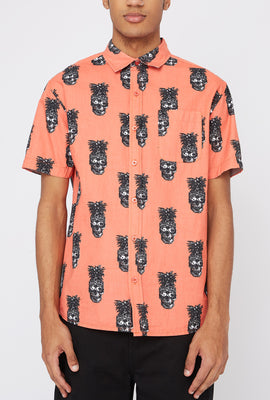Artistry In Motion Mens Pineapple Skull Button-Up Shirt