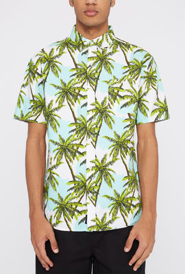 Artistry In Motion Mens Palm Tree Print Button-Up Shirt