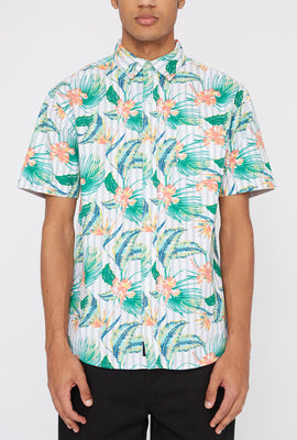 Artistry In Motion Mens Hibiscus Button-Up Shirt