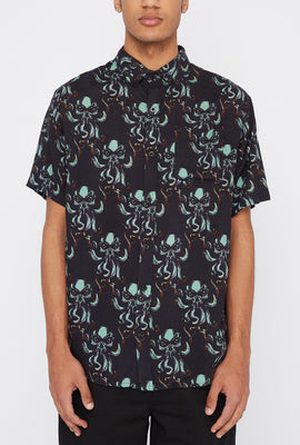 Delusions of Grandeur Mens Skull Octopus Button-Up Shirt
