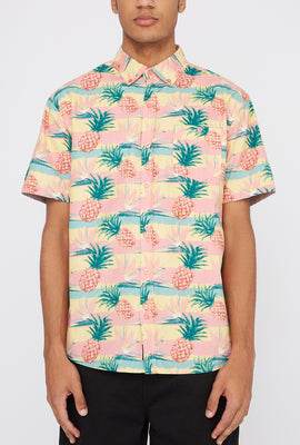 Artistry In Motion Mens Pineapple Print Button-Up Shirt