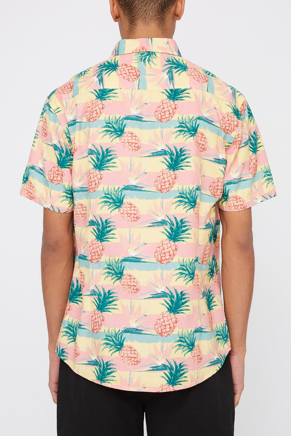 Artistry In Motion Mens Pineapple Print Button-Up Shirt Peach