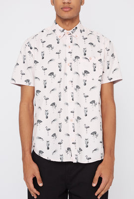 Artistry In Motion Mens Flamingo Button-Up Shirt