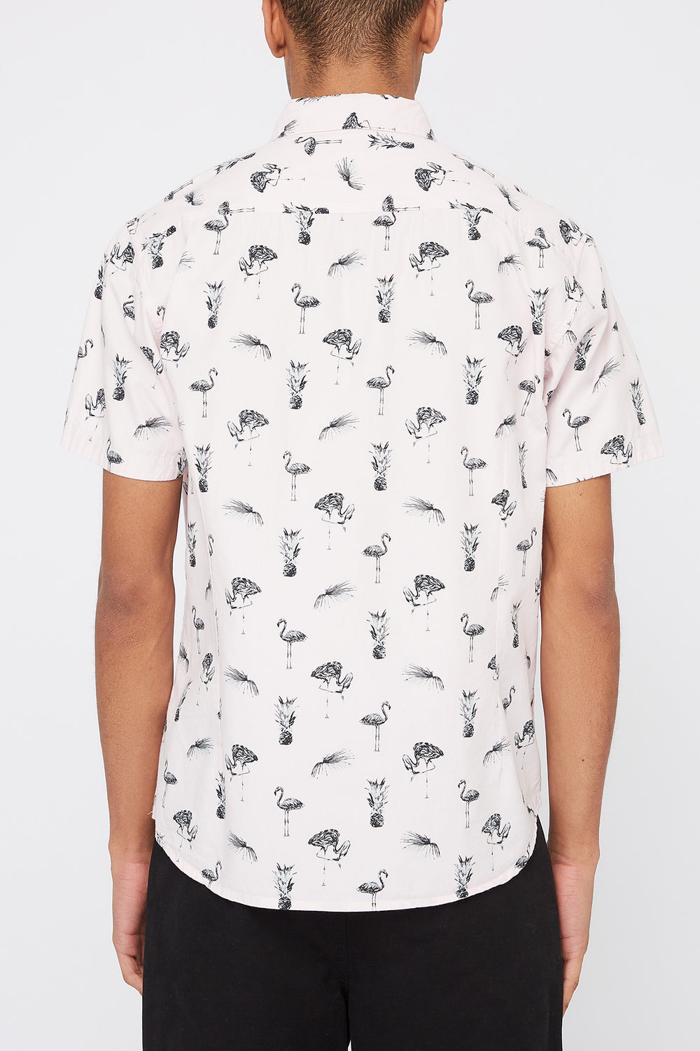 Artistry In Motion Mens Flamingo Button-Up Shirt Peach