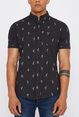 Zoo York Mens Flamingo Ditsy Print Button-Up