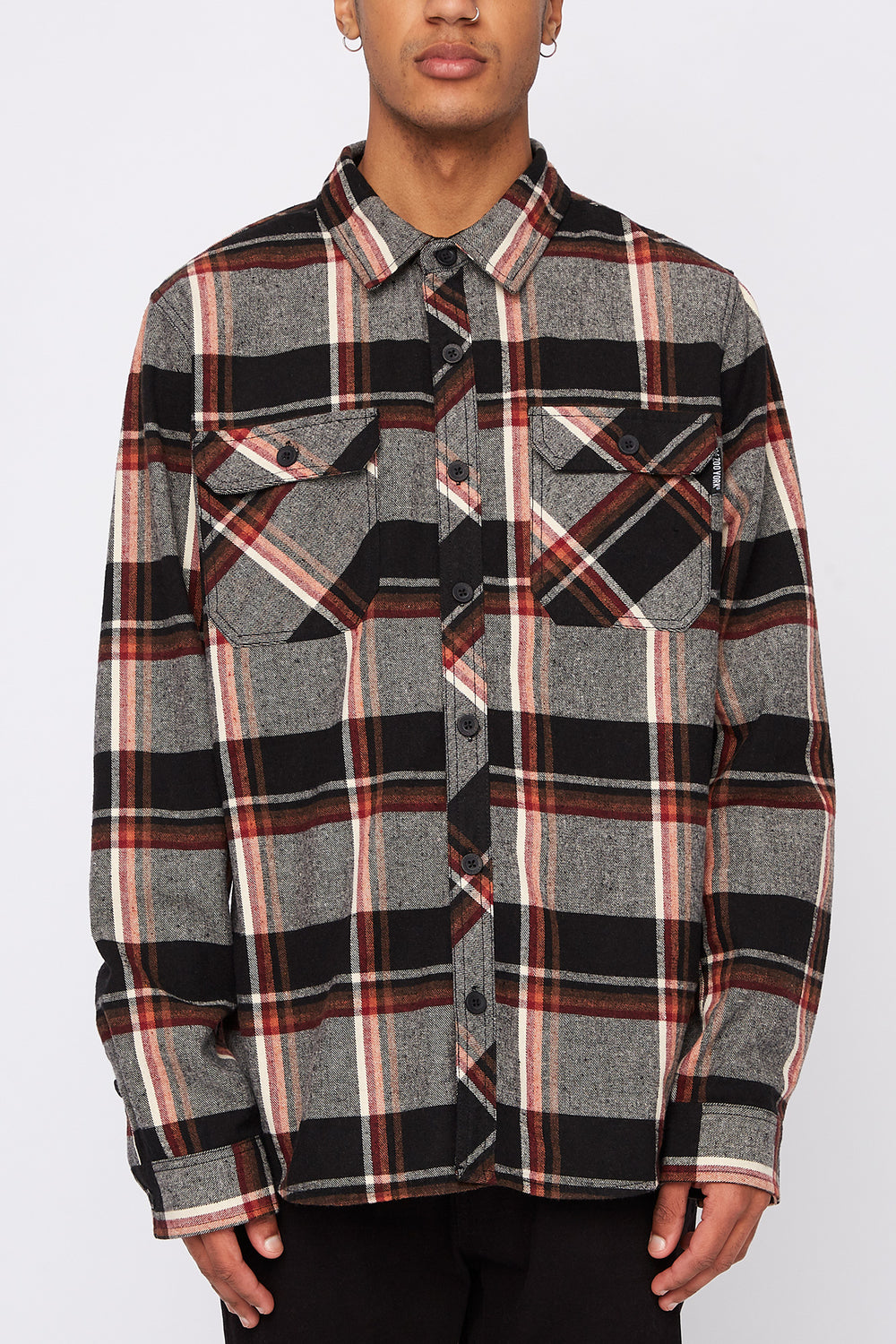 Zoo York Mens Hooded Flannel Shirt Black