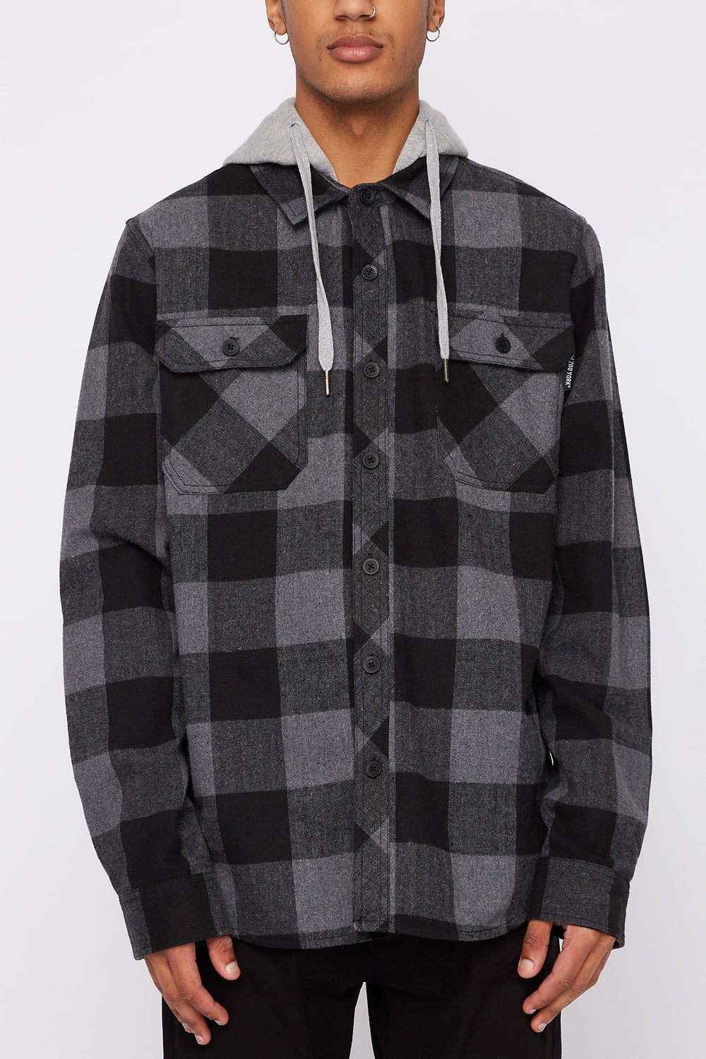 Zoo York Mens Hooded Flannel Shirt Charcoal