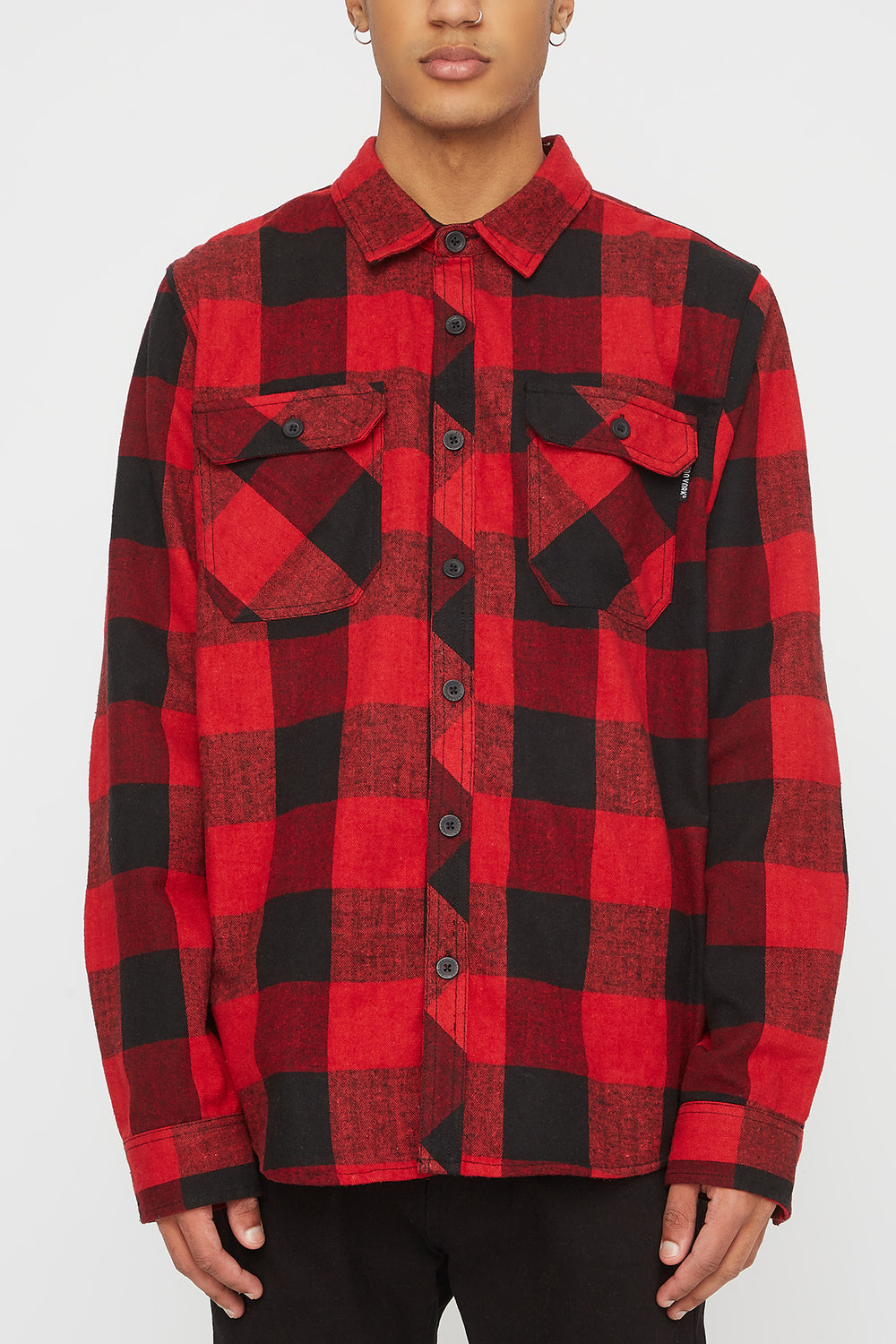 Zoo York Mens Hooded Flannel Shirt Red
