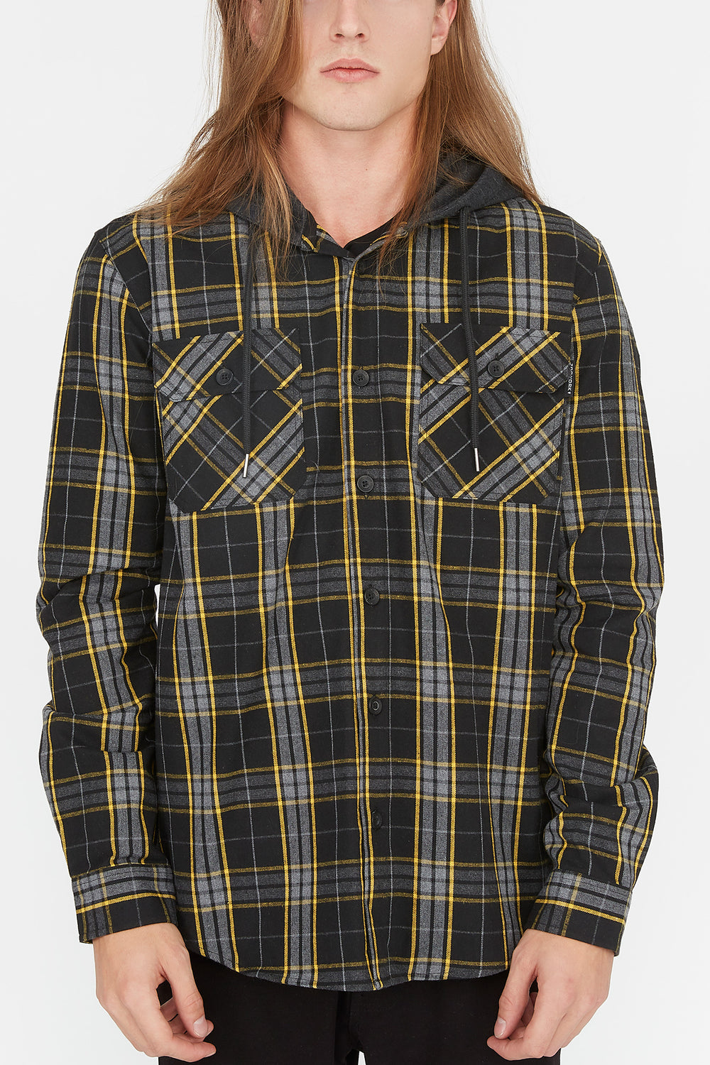Zoo York Mens Hooded Flannel Button-Up Shirt Mustard