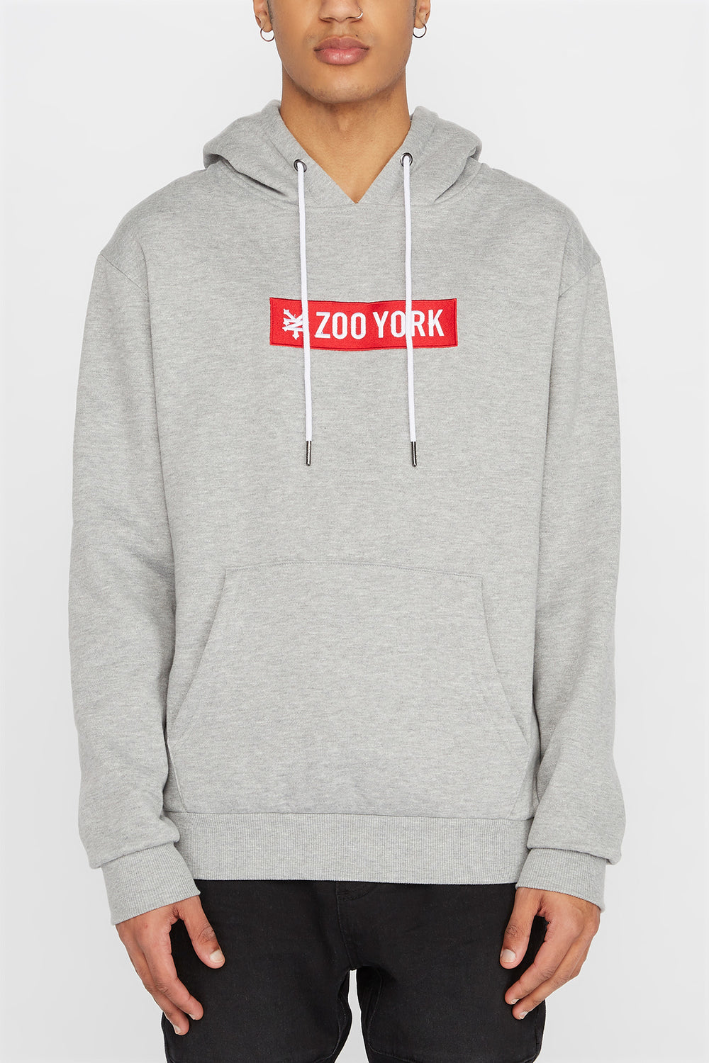Zoo York Mens Classic Patch Logo Hoodie Heather Grey