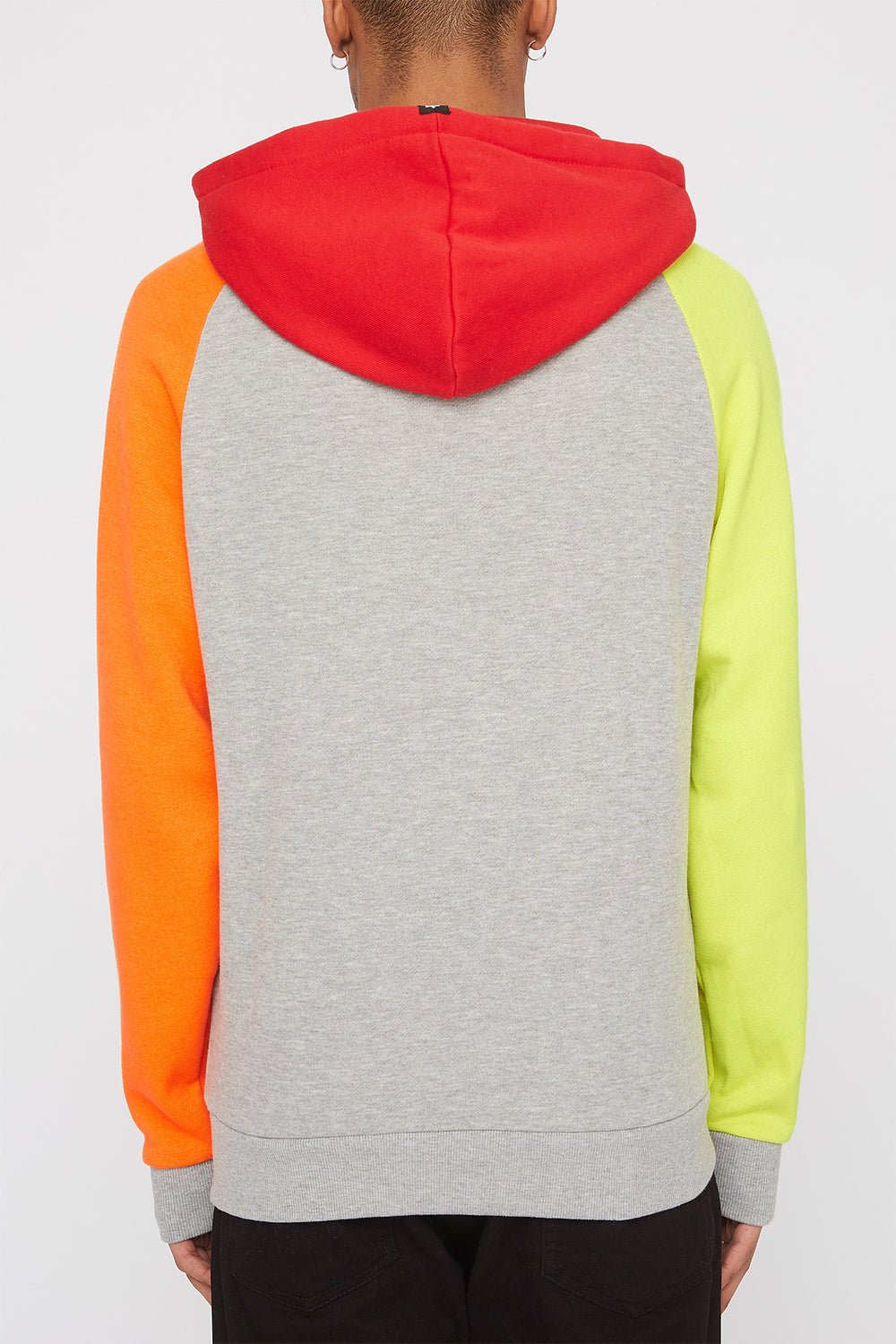 Zoo York Mens 90s Style Colour Block Hoodie Heather Grey