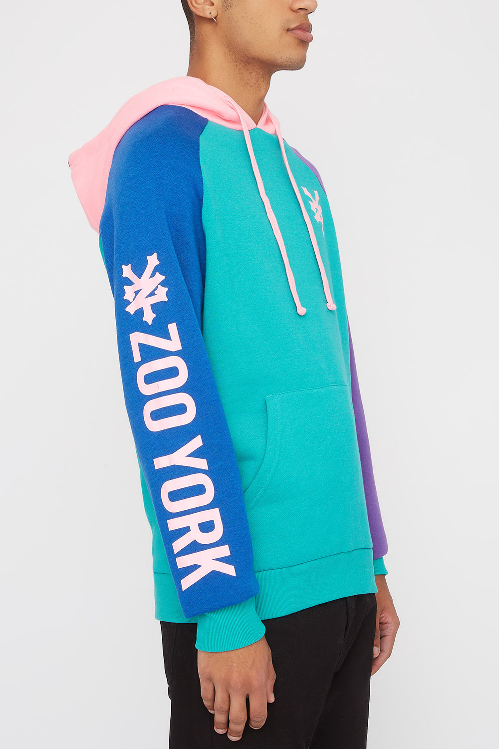 Zoo York Mens 90s Style Colour Block Hoodie Jade