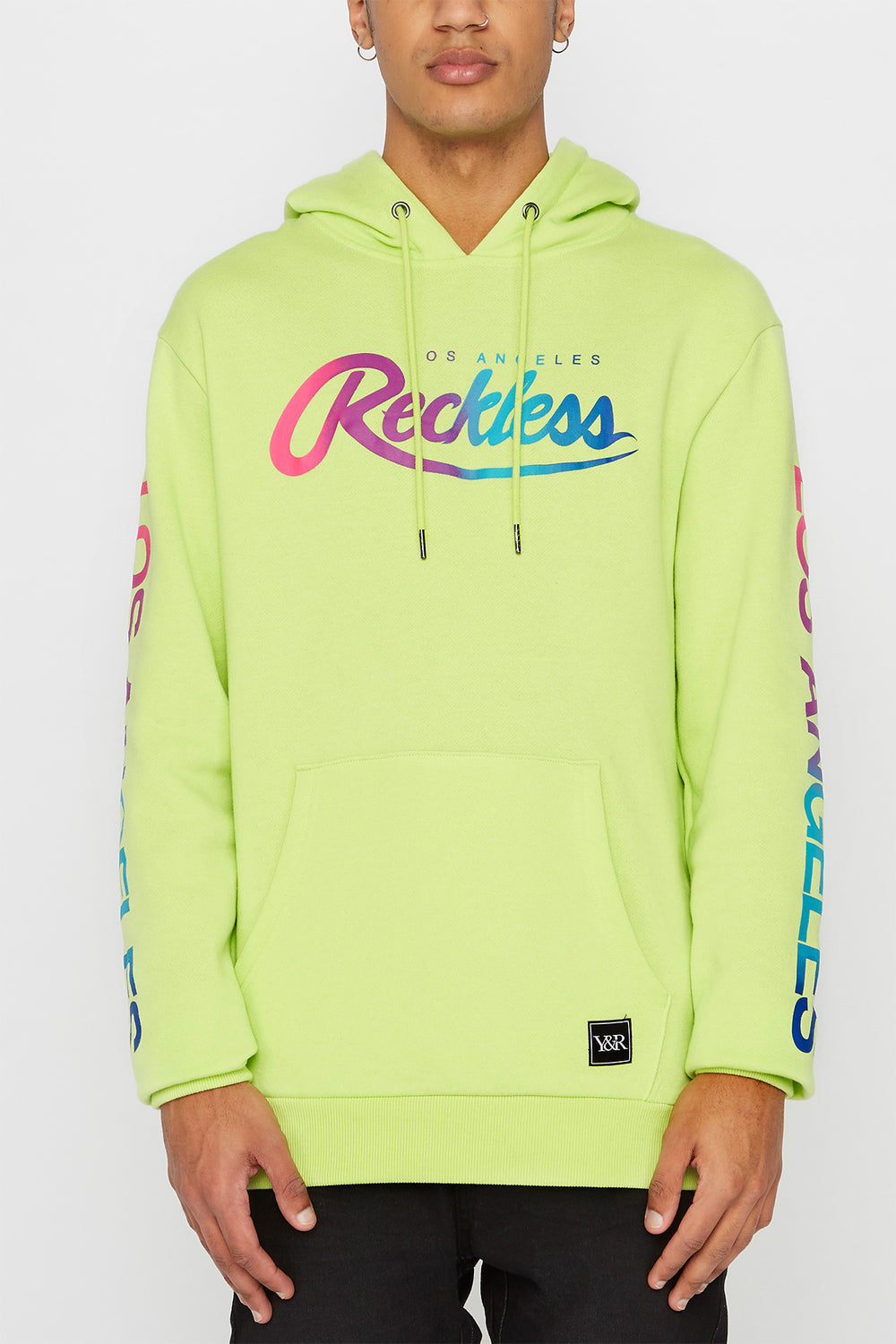 Young & Reckless Mens Gradient Logo Hoodie Neon Green