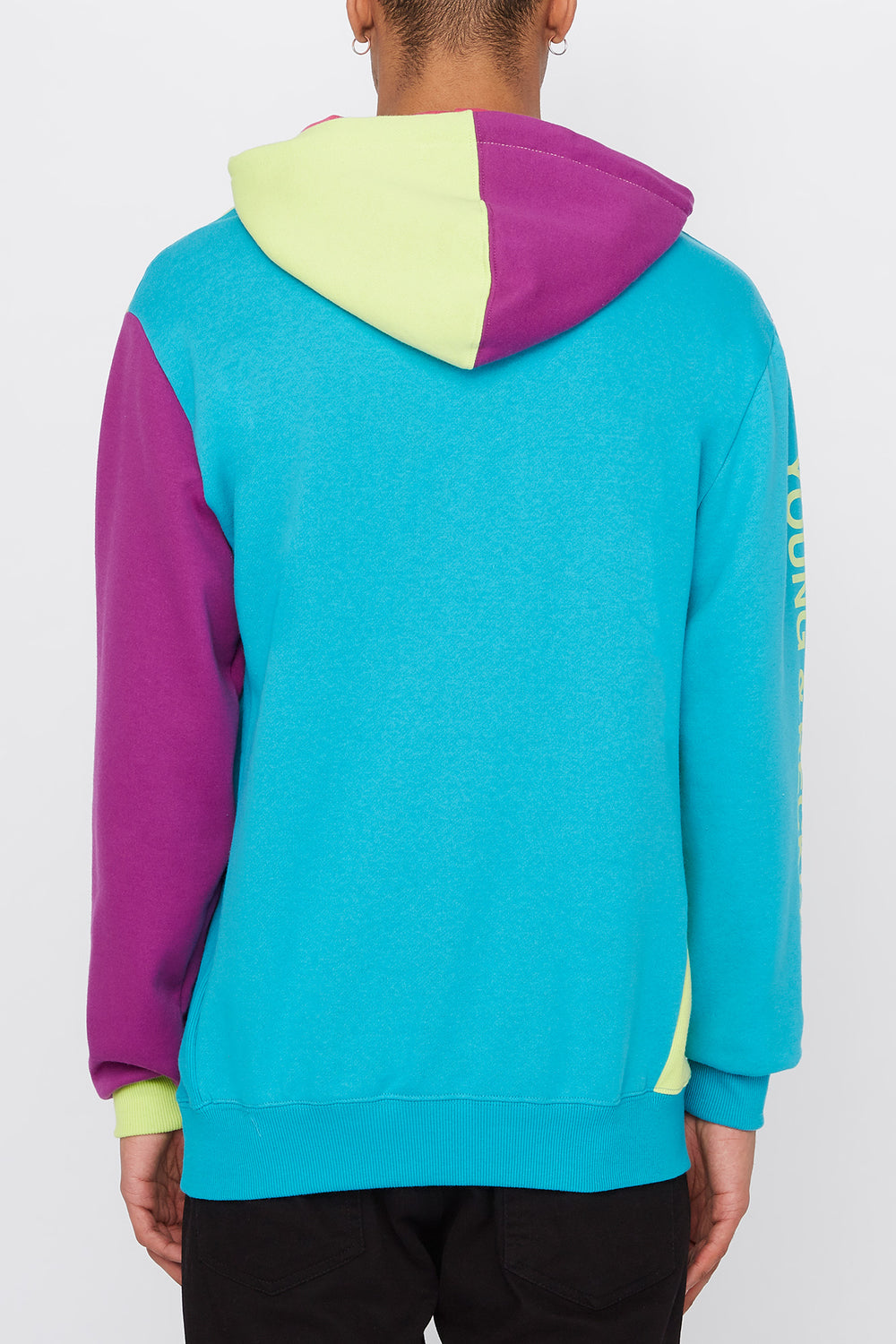Young & Reckless Mens Colour Block Hoodie Ocean Blue