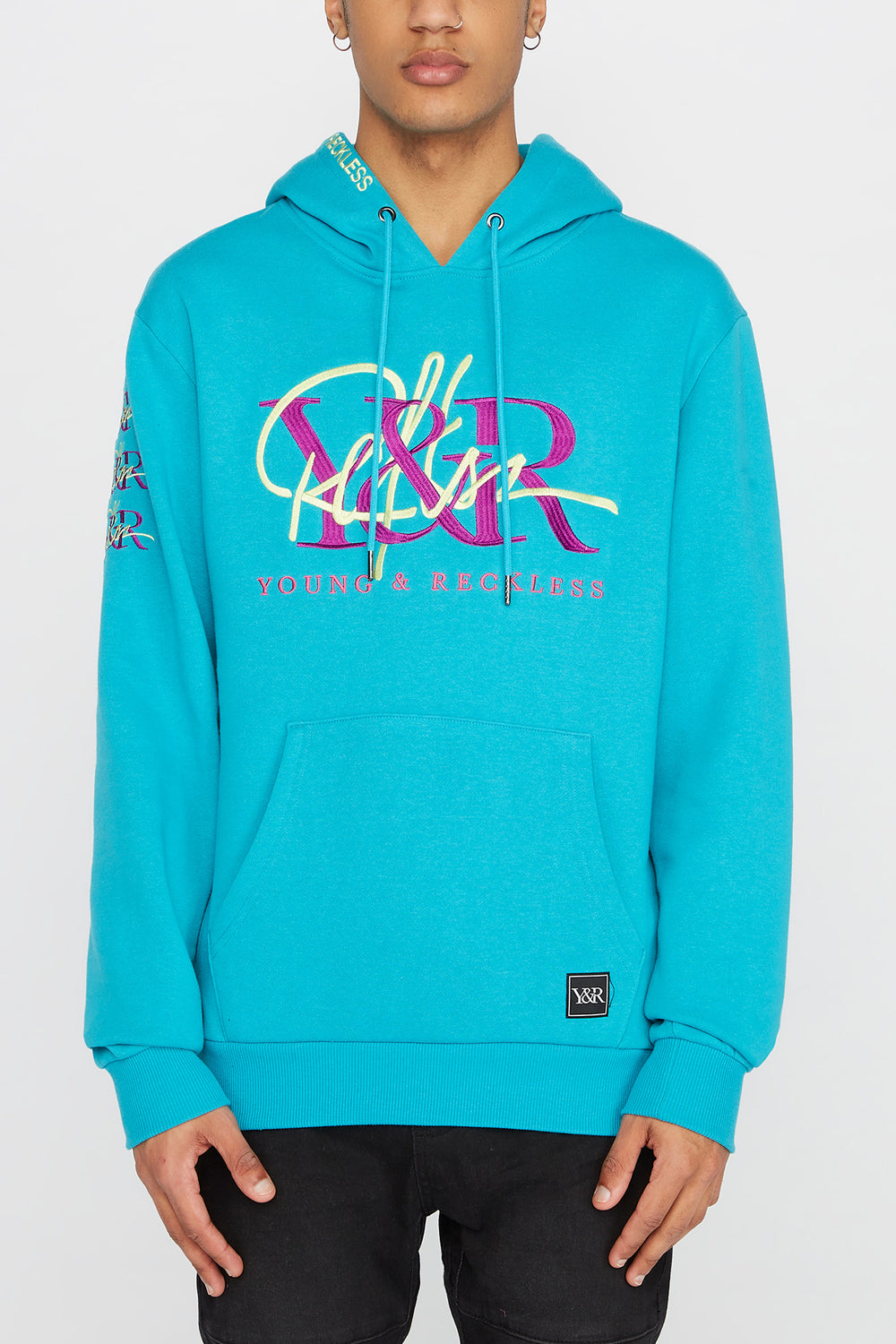 Young & Reckless Mens Cursive Logo Hoodie Ocean Blue