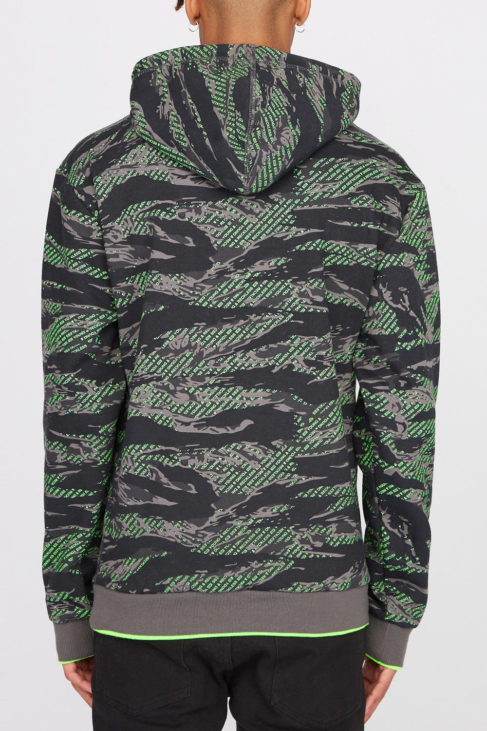 Young & Reckless Mens Tiger Camo & Neon Hoodie Camouflage