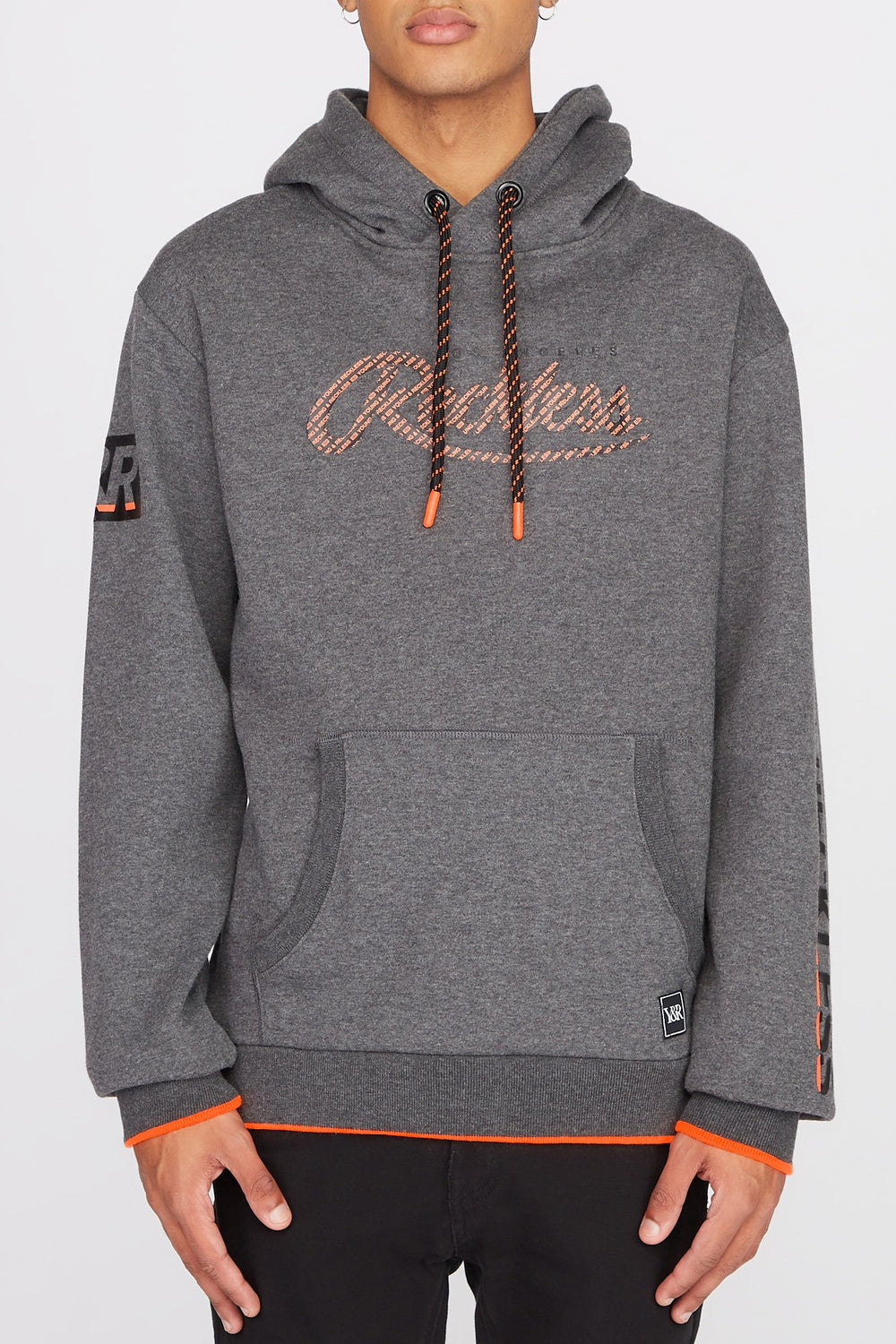 Young & Reckless Mens Neon Accented Hoodie Charcoal