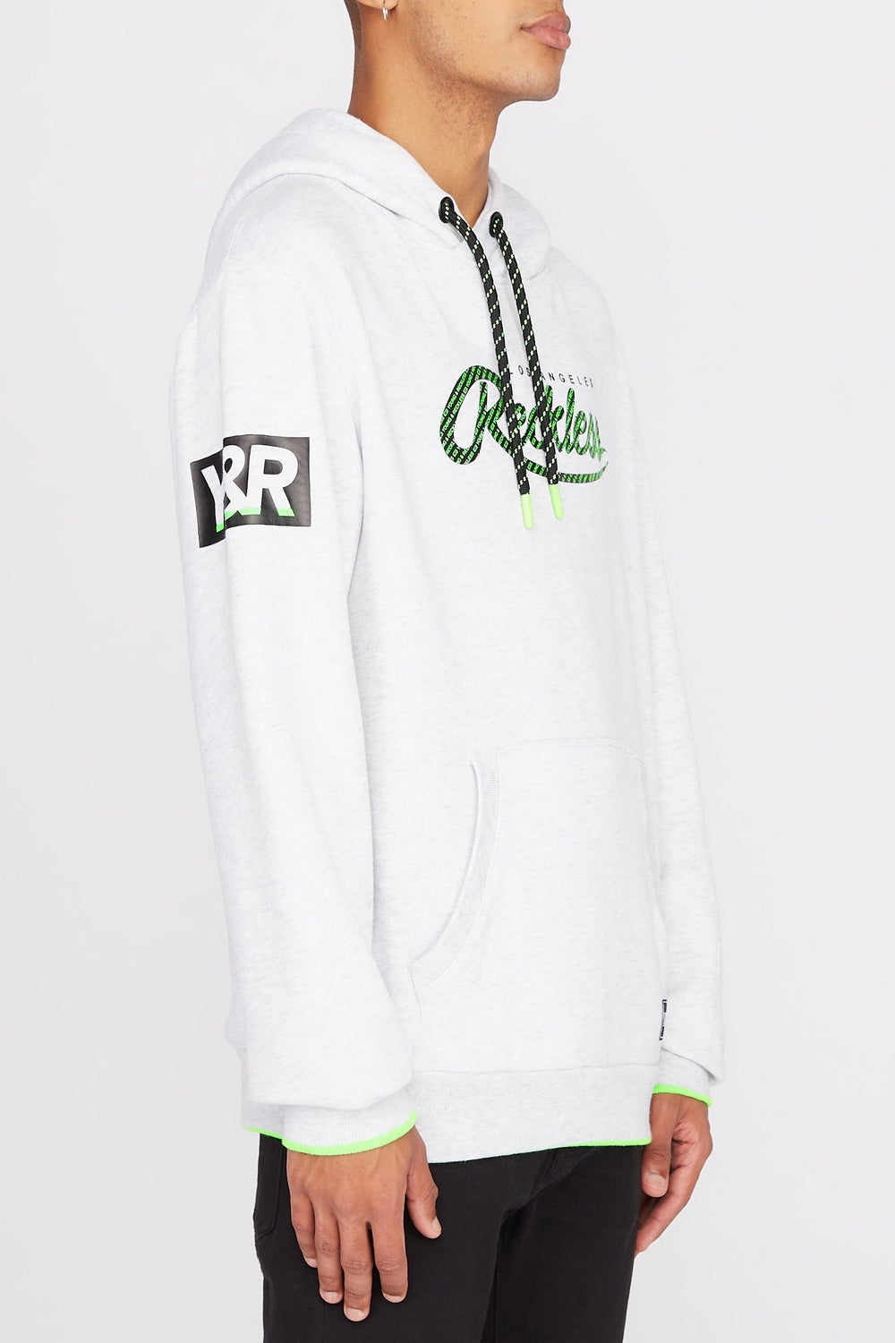 Young & Reckless Mens Neon Accented Hoodie Oatmeal