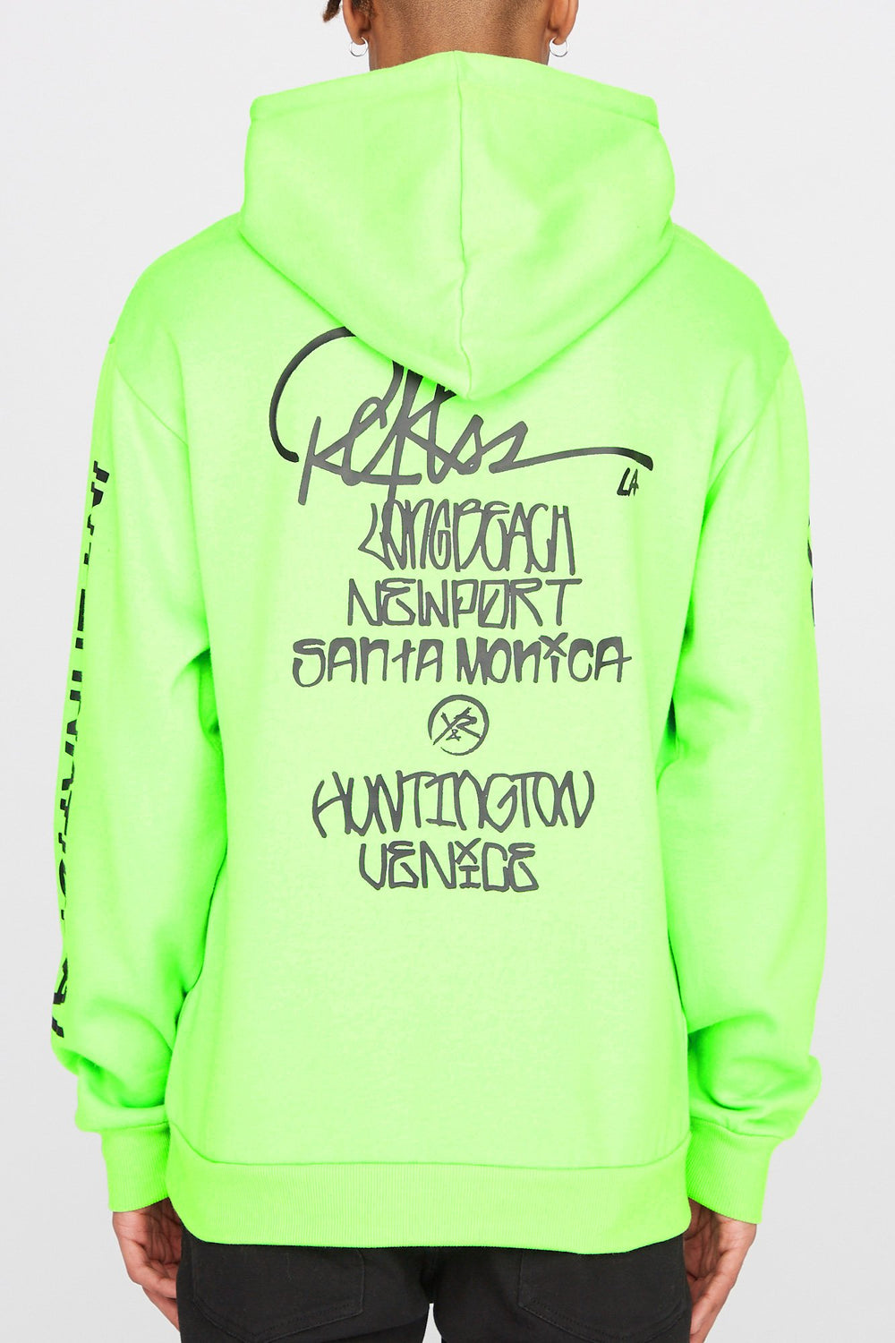 Young & Reckless Mens Neon Hoodie Neon Green