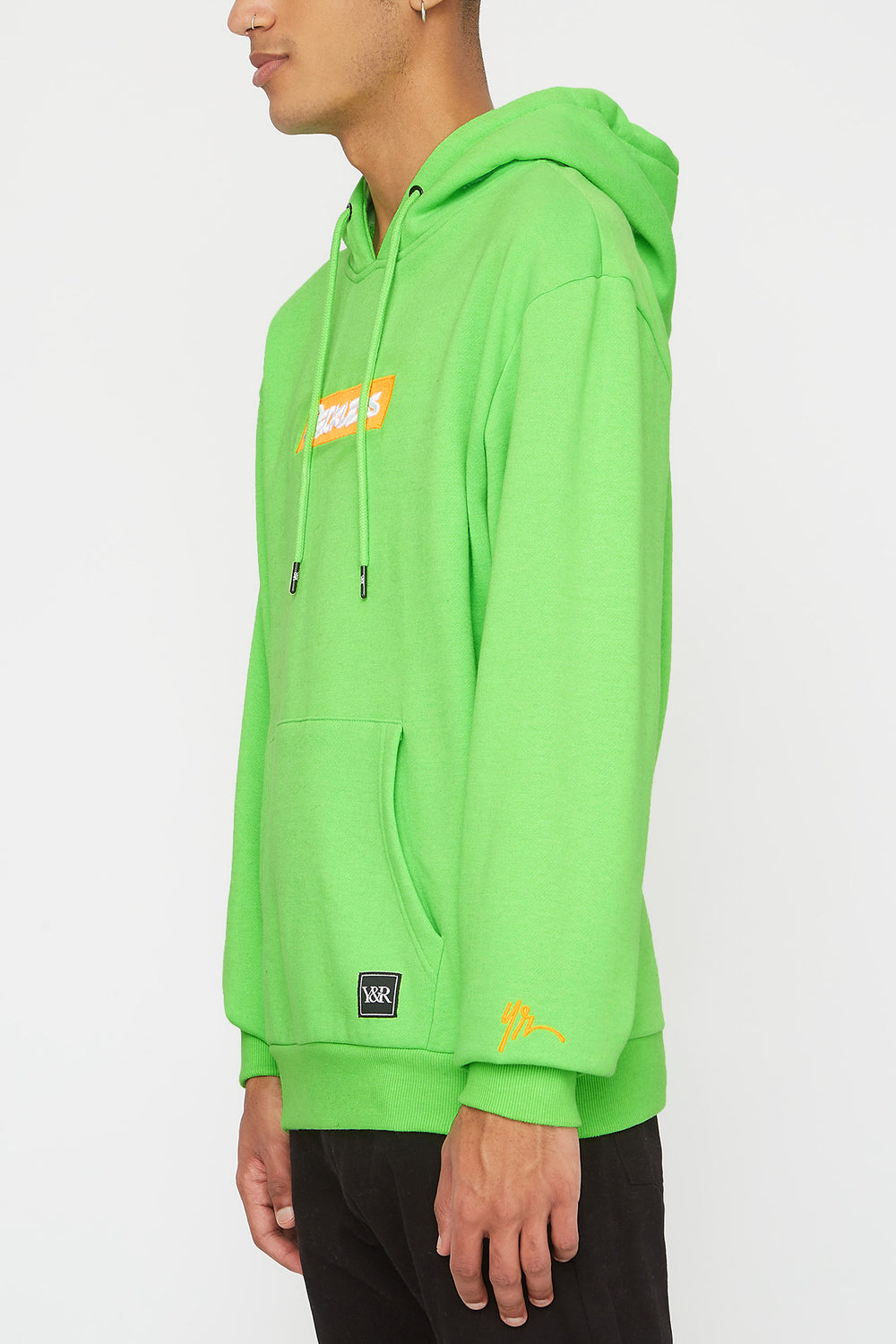 Young & Reckless Mens Neon Popover Hoodie Neon Green
