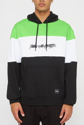 Young & Reckless Mens Neon Colour Block Popover Hoodie