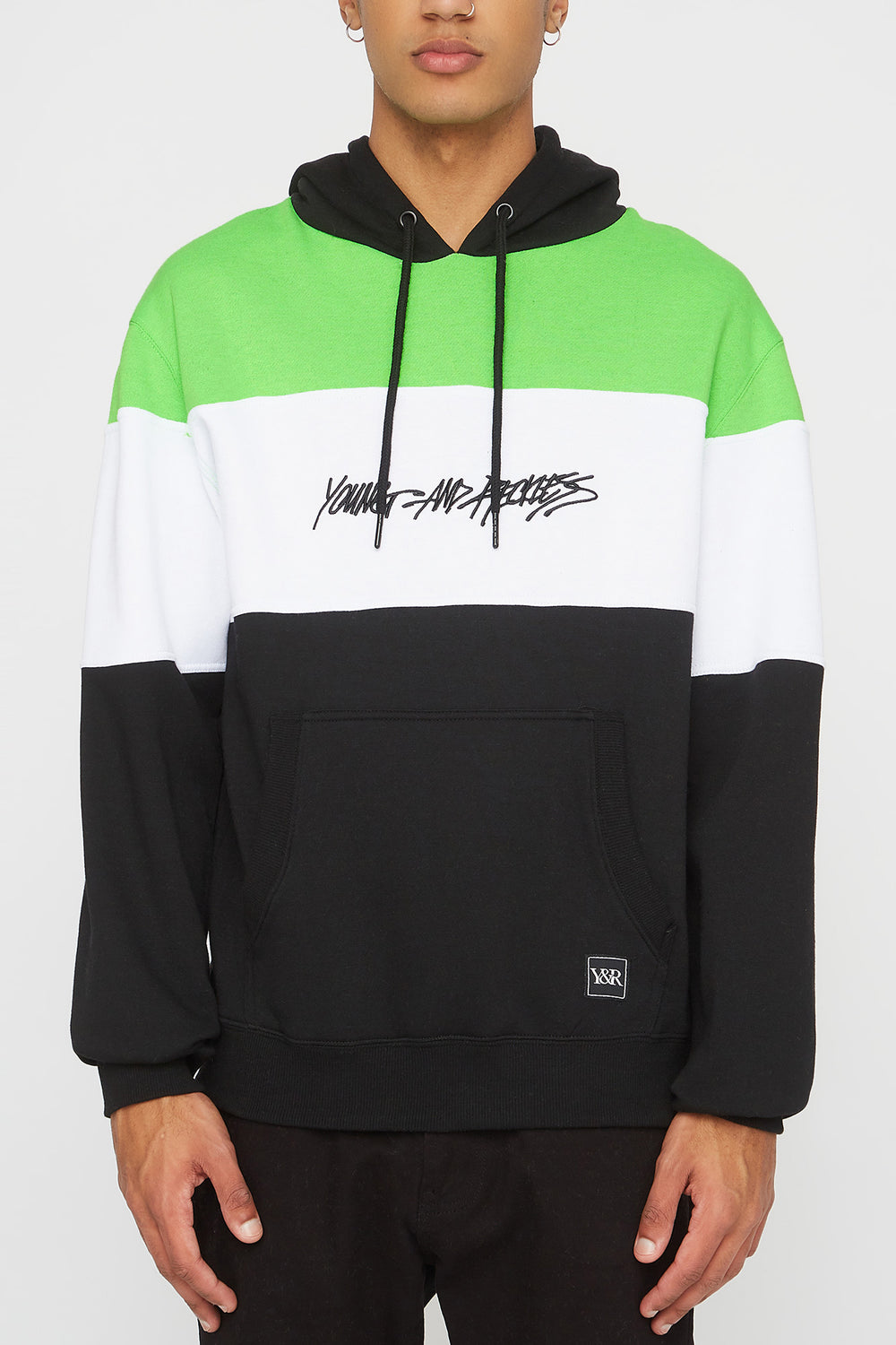 Young & Reckless Mens Neon Colour Block Popover Hoodie Black