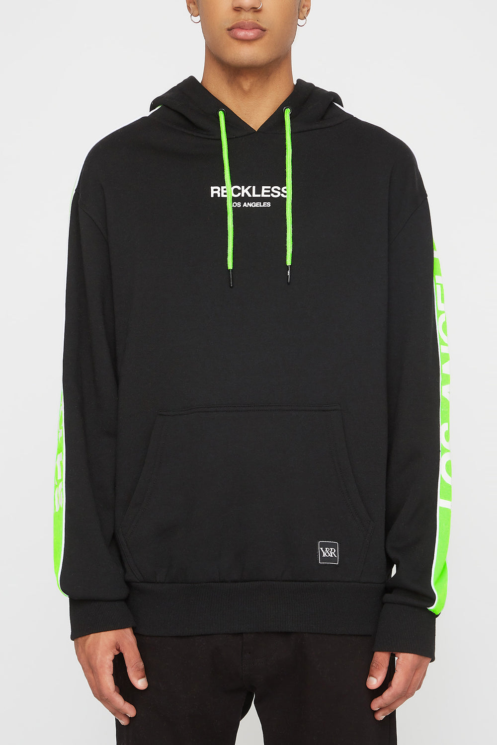 Young & Reckless Mens LA Neon Side Tape Popover Hoodie Black