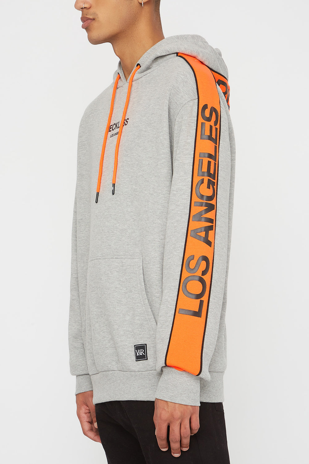 Young & Reckless Mens LA Neon Side Tape Popover Hoodie Heather Grey