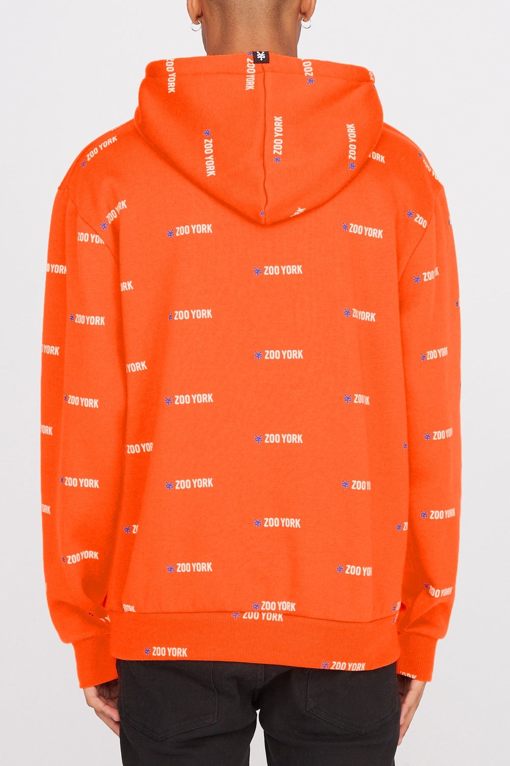 Zoo York Mens Chenille Patch Logo Hoodie Neon Orange