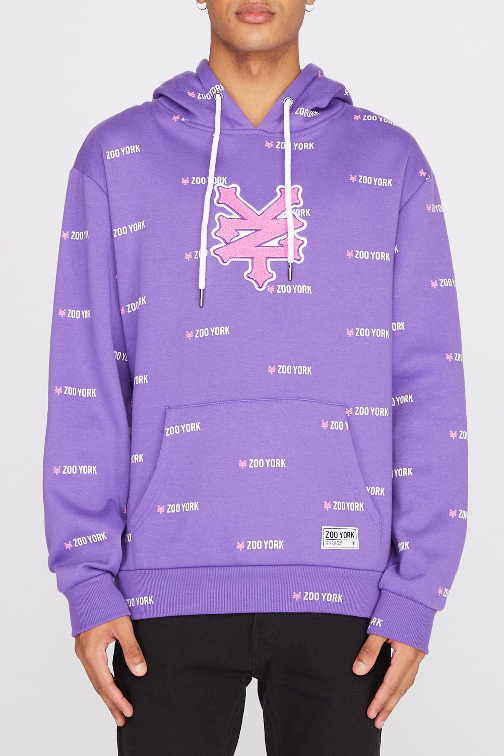 Zoo York Mens Chenille Patch Logo Hoodie Purple