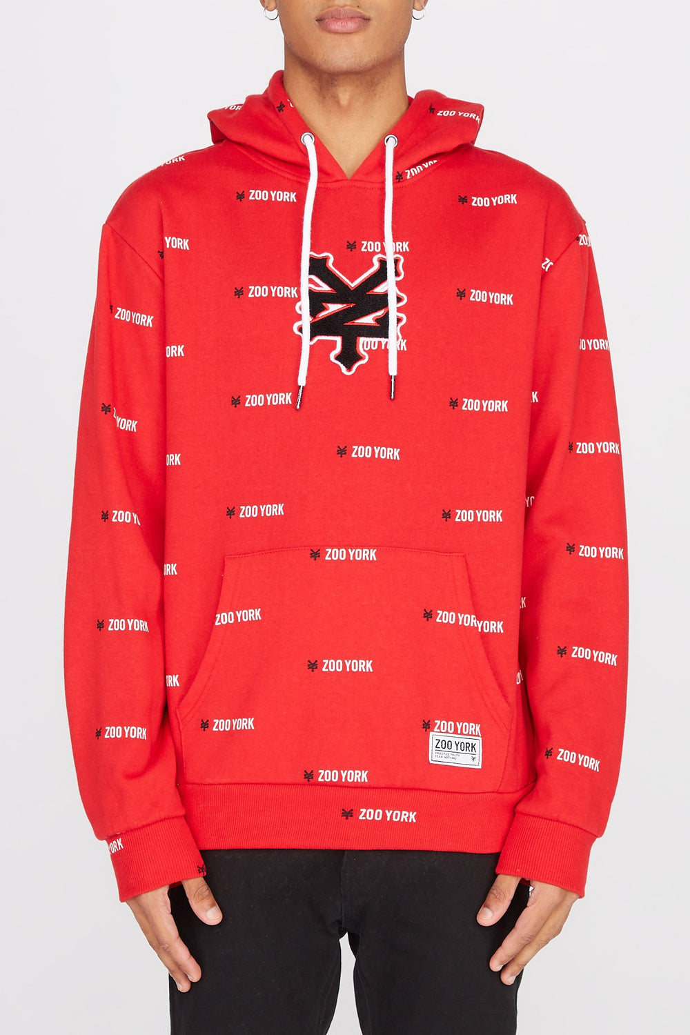 Zoo York Mens Chenille Patch Logo Hoodie Red