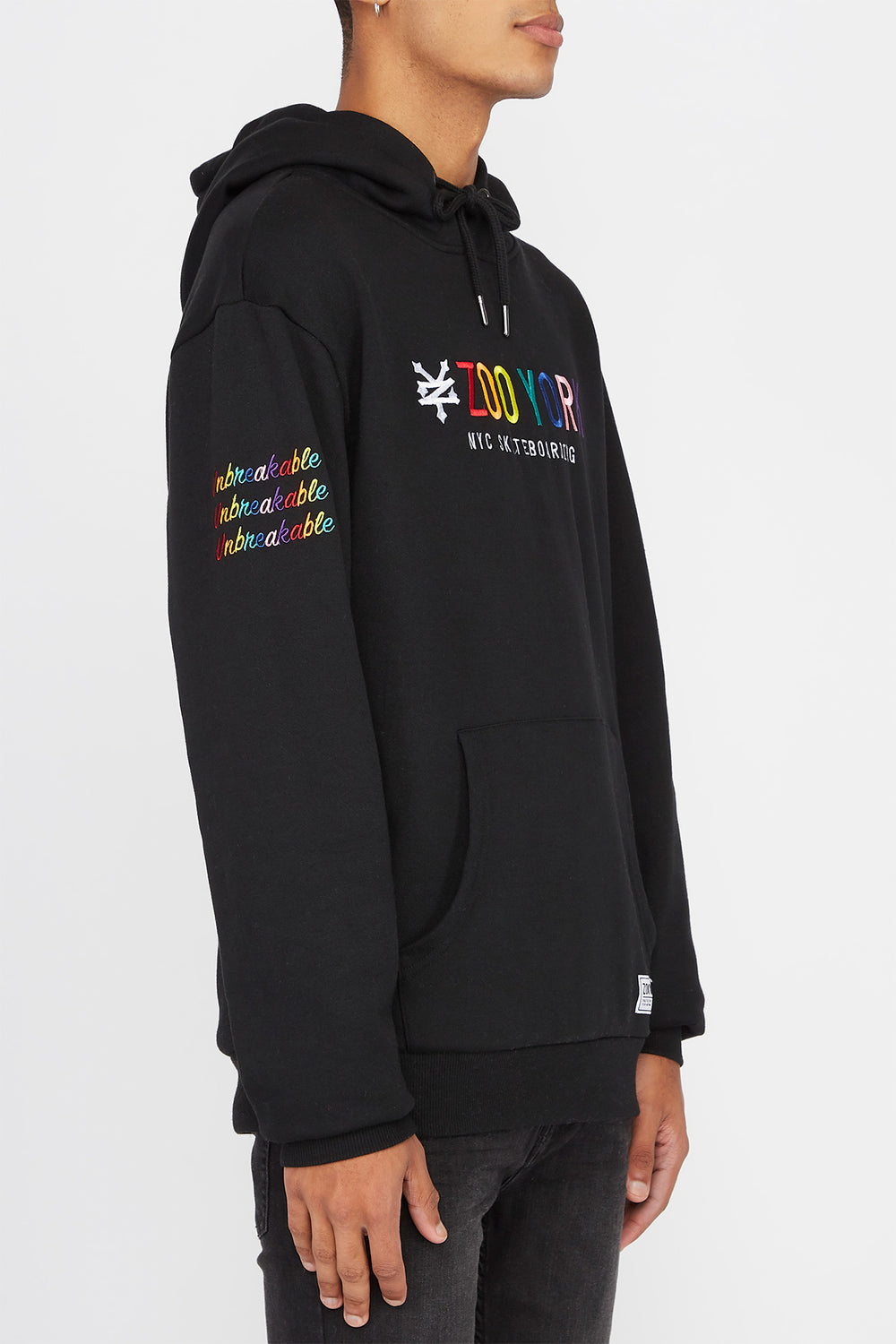 Zoo York Mens Rainbow Logo Hoodie Black
