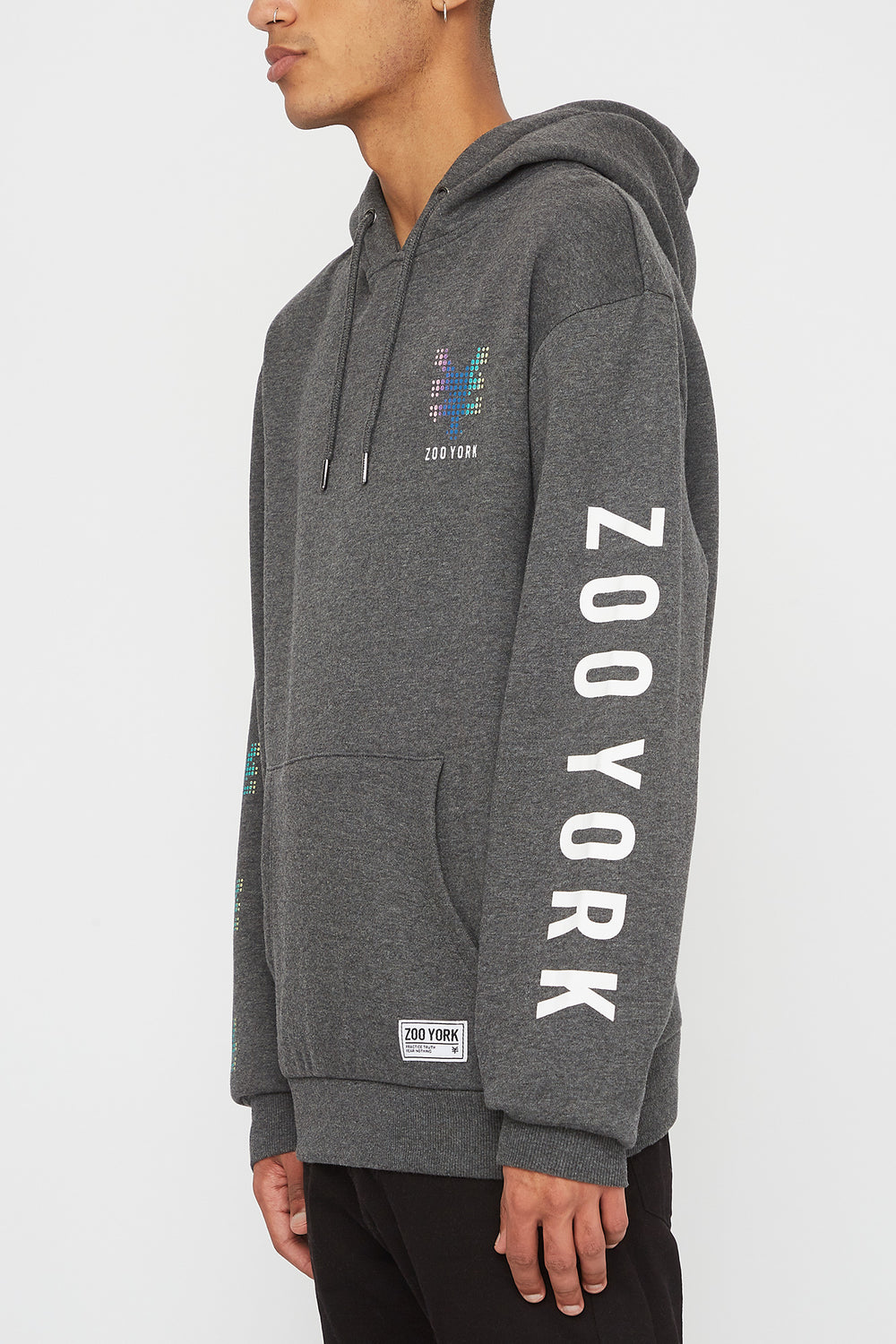 Zoo York Mens Rainbow Dots Hoodie Charcoal