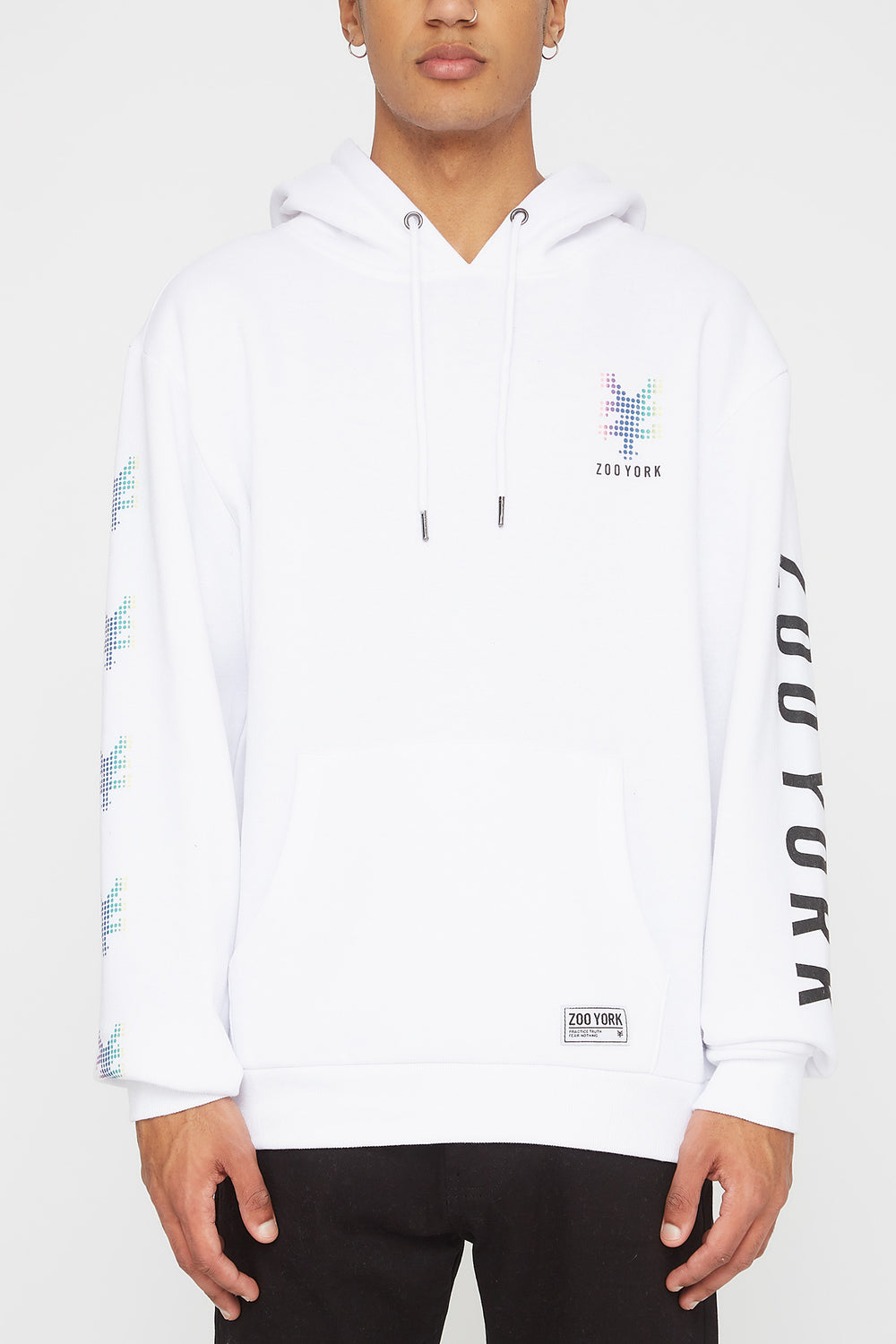 Zoo York Mens Rainbow Dots Hoodie White
