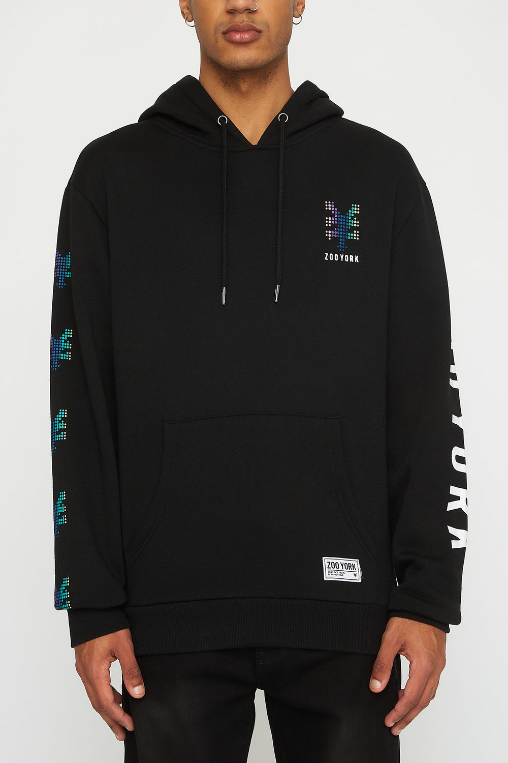 Zoo York Mens Rainbow Dots Hoodie Black