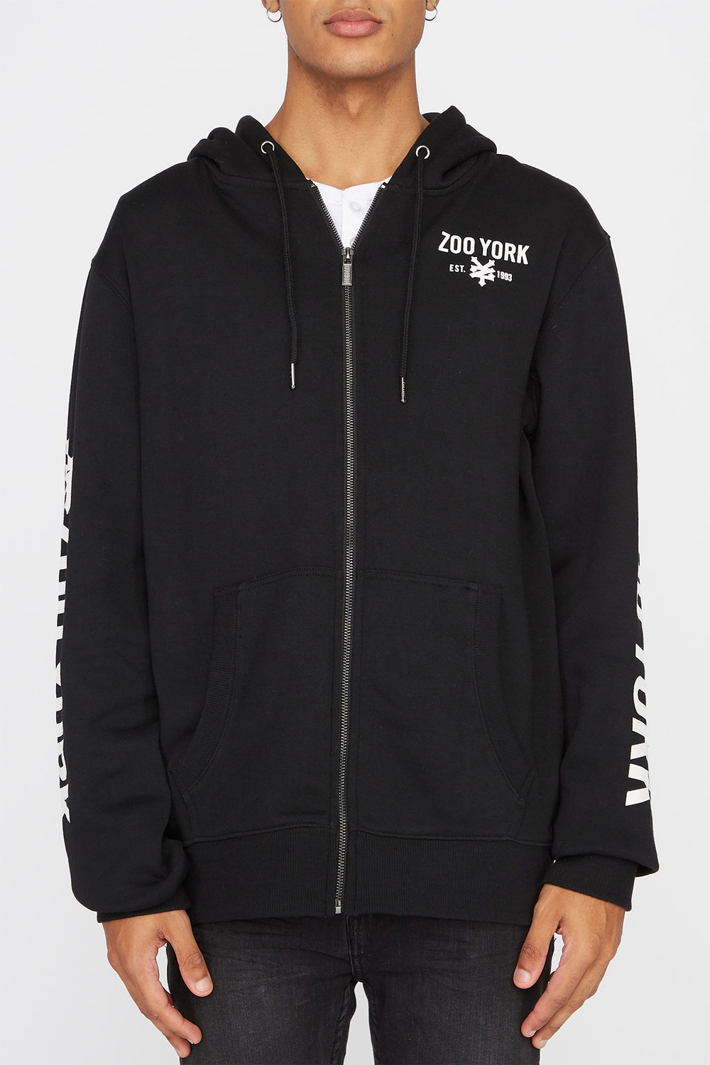 Zoo York Mens Zip-Up Hoodie Black