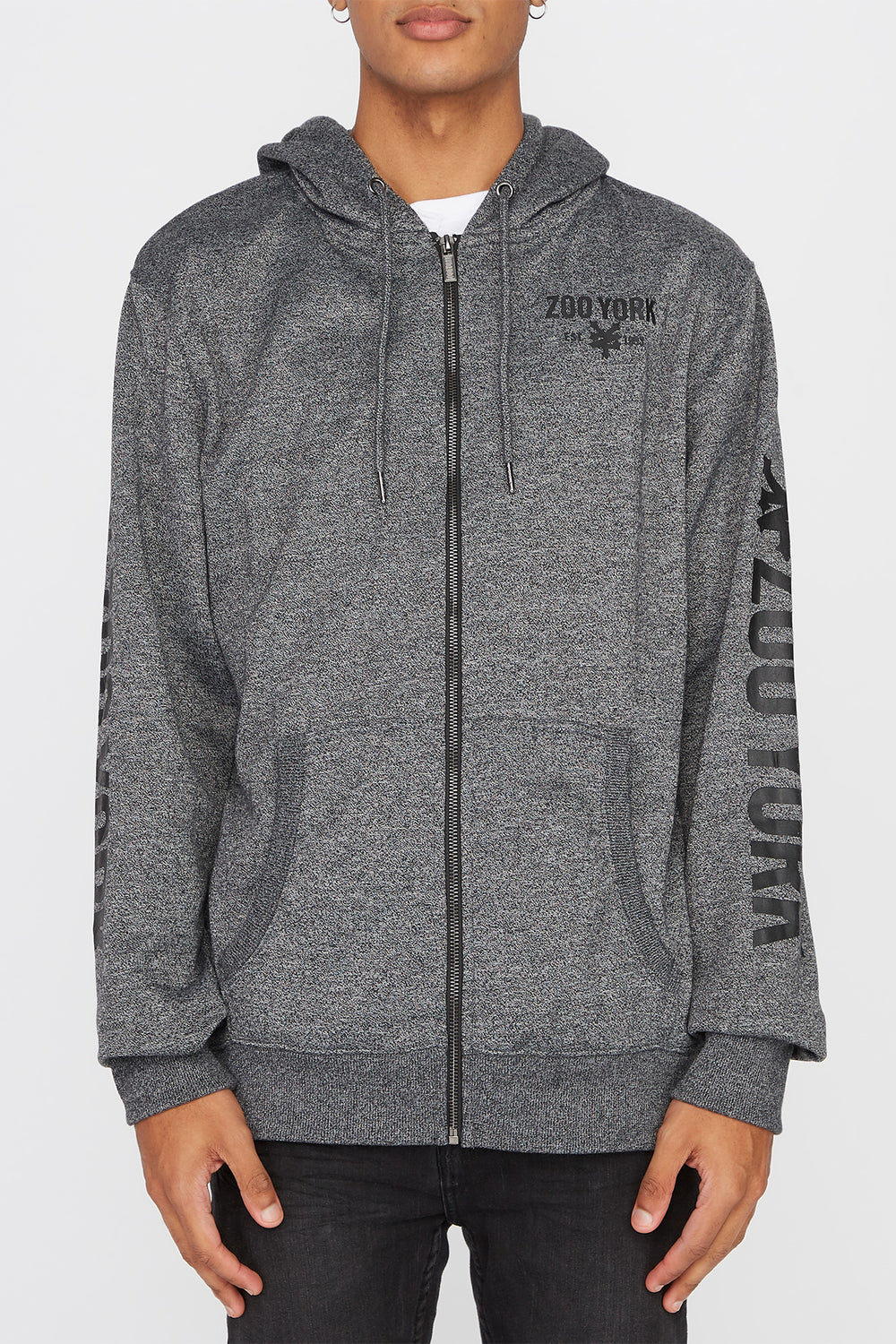 Zoo York Mens Zip-Up Hoodie Charcoal