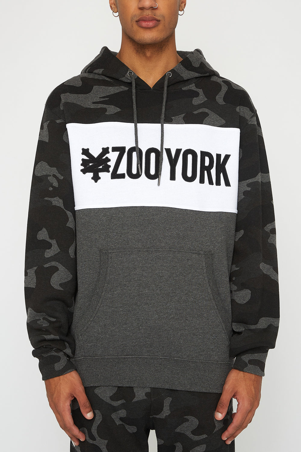 Zoo York Mens Camo Colour Block Hoodie Black with White