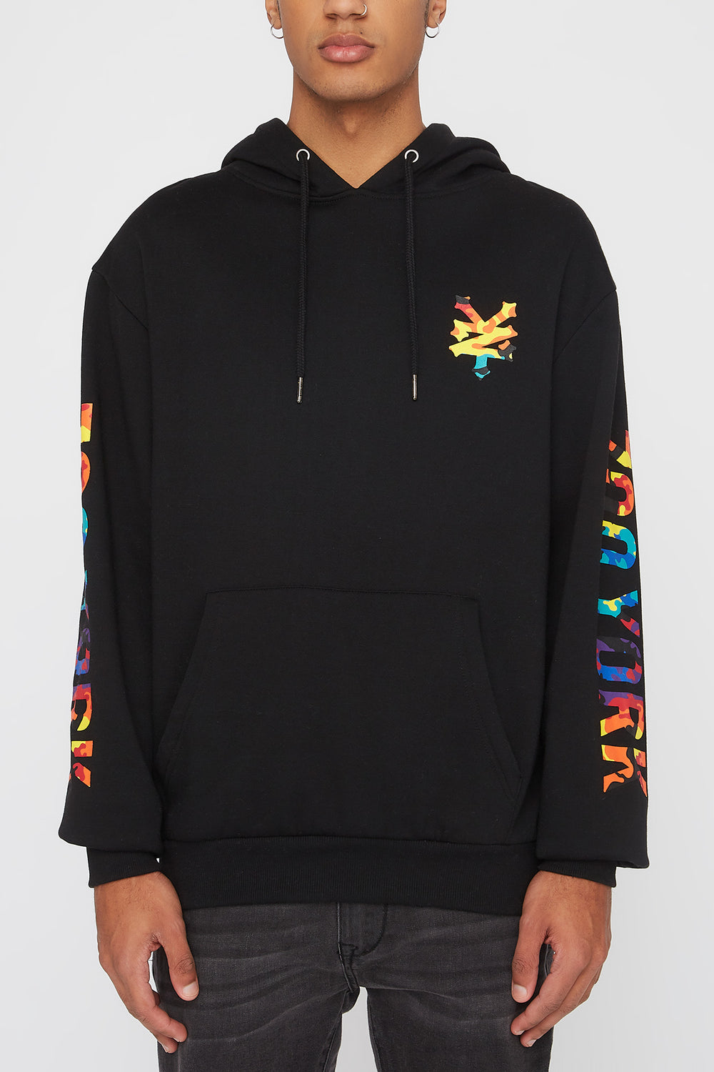 Zoo York Mens Rainbow Camo Logo Hoodie Black