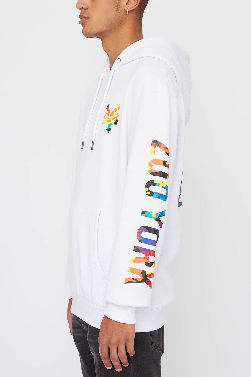Zoo York Mens Rainbow Camo Logo Hoodie White