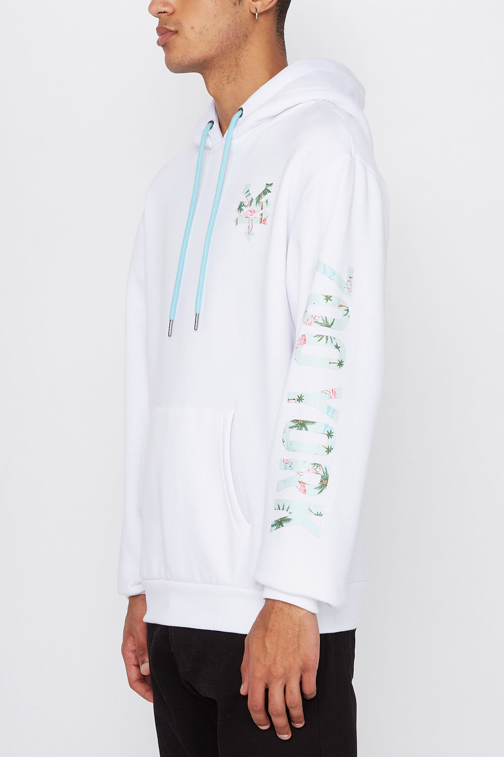 Zoo York Mens Pink Flamingo Logo Hoodie White