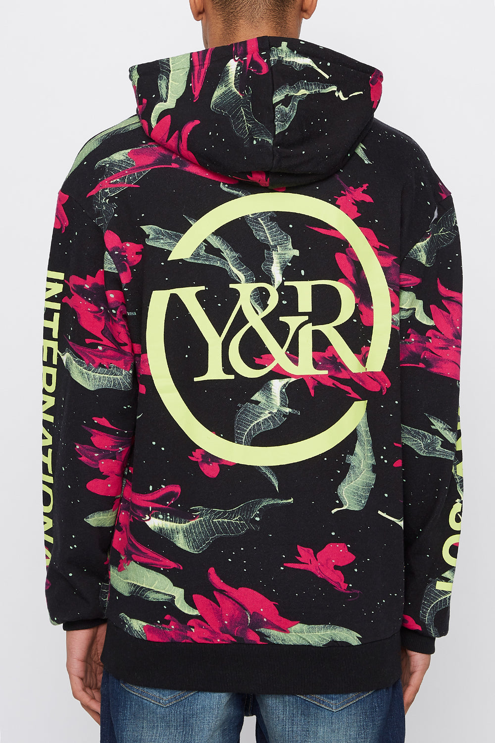Young & Reckless Mens Neon Floral Pattern Hoodie Black