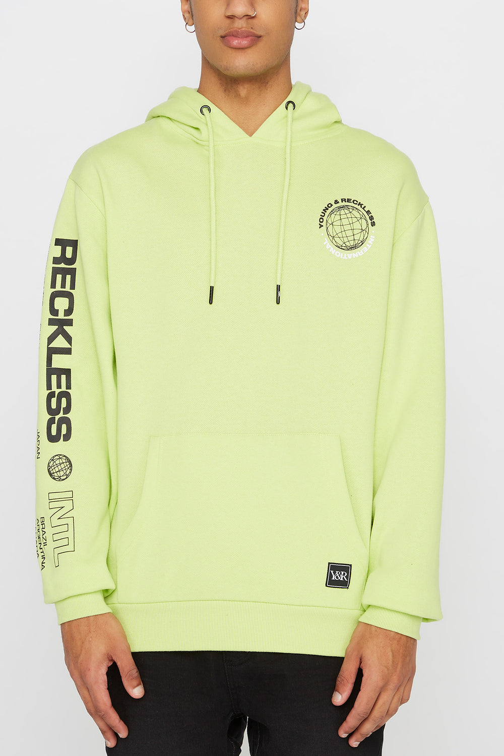 Young & Reckless Mens Neon Hoodie Green