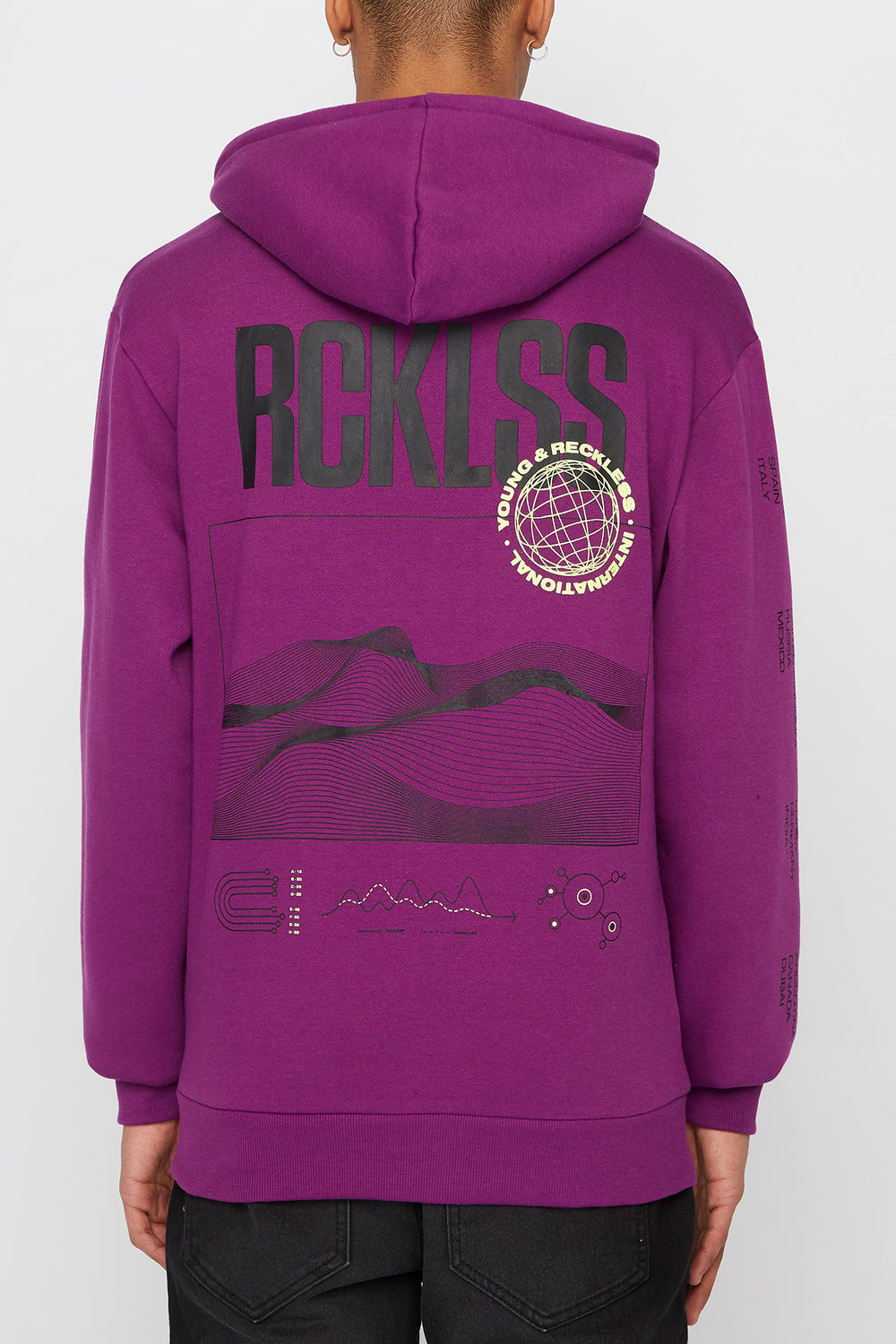 Young & Reckless Mens Neon Hoodie Purple