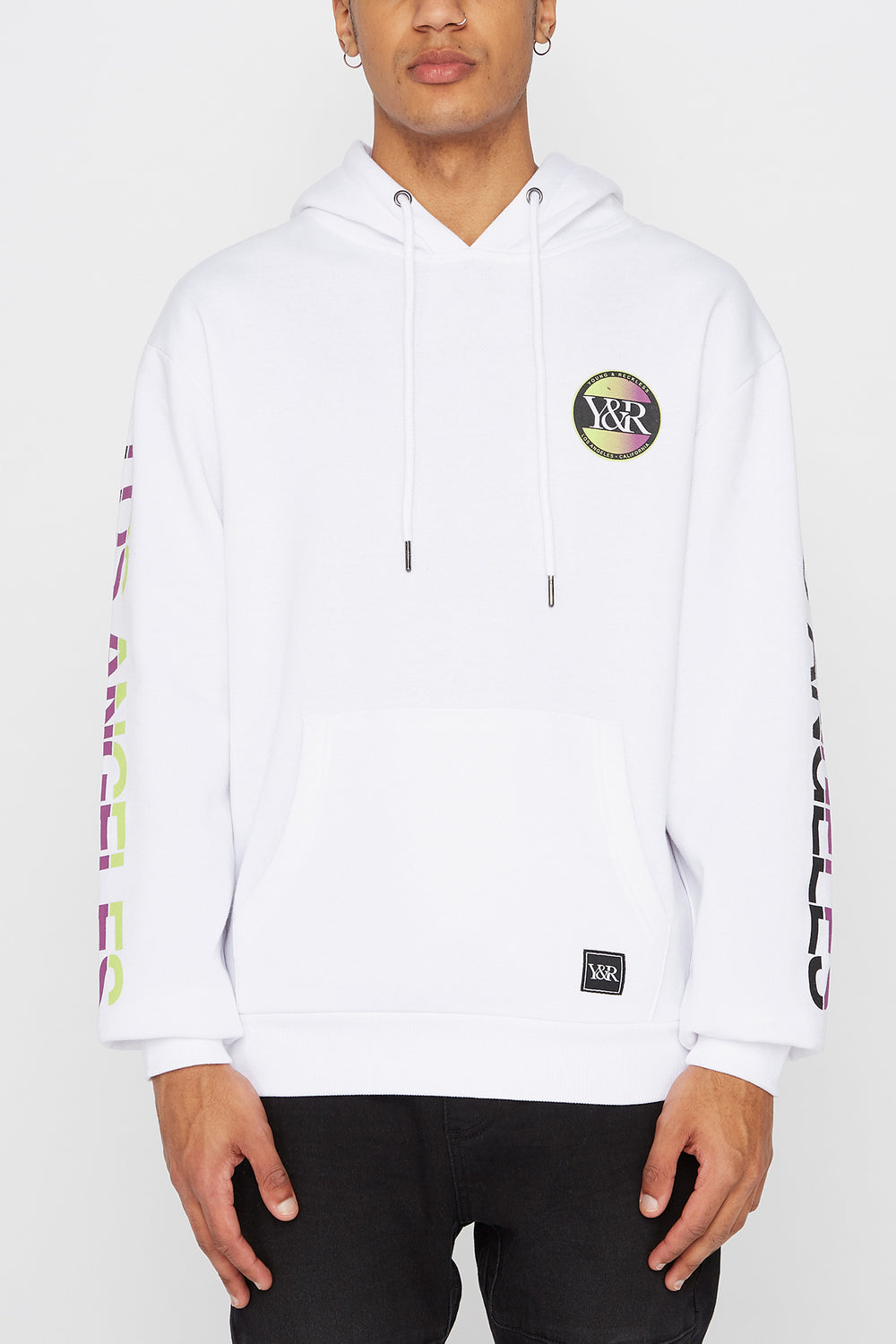 Young & Reckless Mens Circle Logo Hoodie White