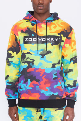 Zoo York Mens Reflective Rainbow Camo Hoodie