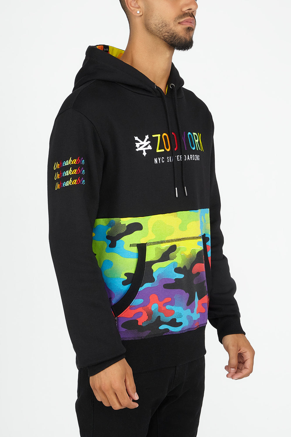 Zoo York Mens Rainbow Camo Panel Hoodie Multi