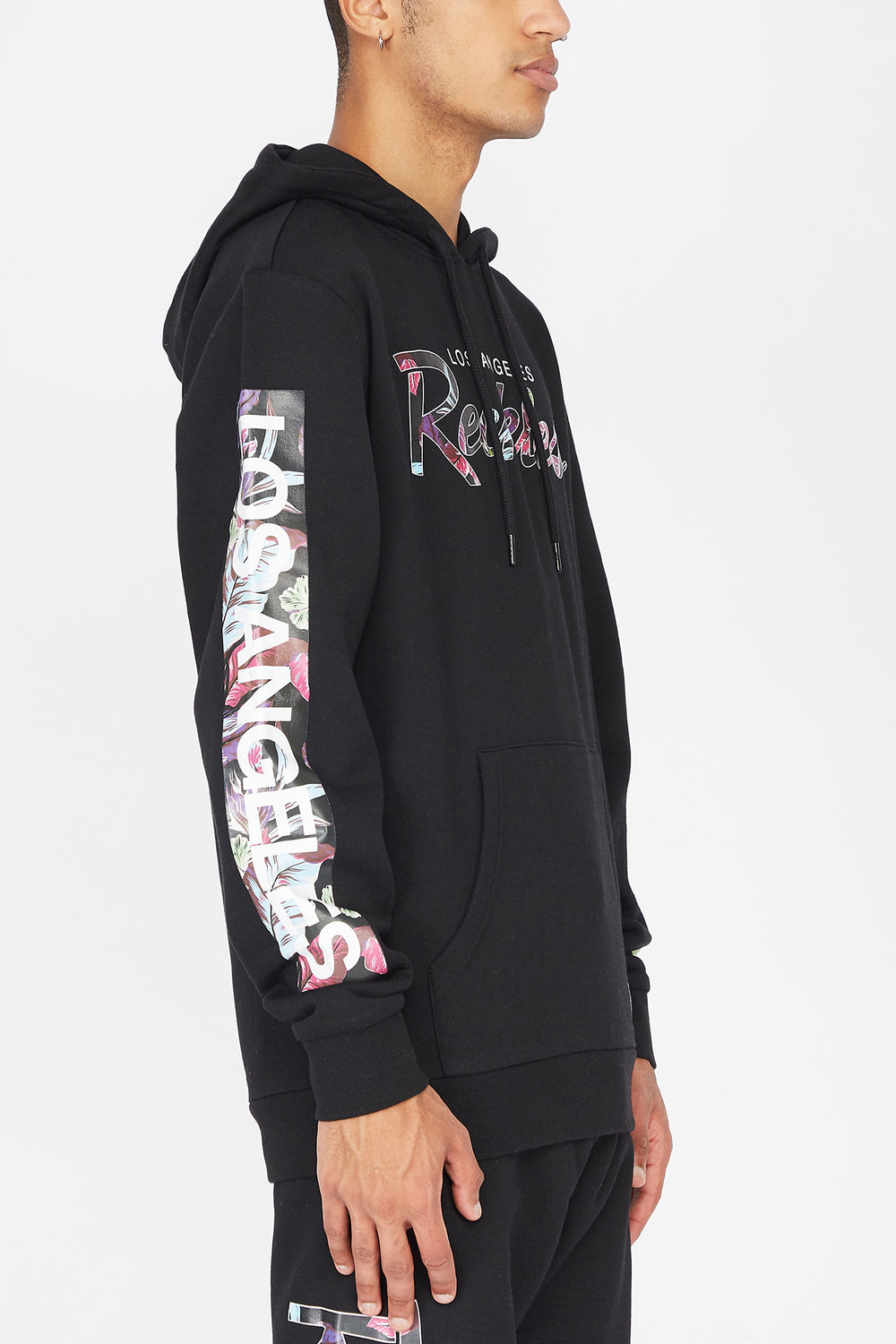 Young & Reckless Mens Floral Fill Hoodie Black
